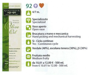 Rangihoua scores highly in the Flos Olei 2011 Review